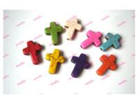 Wholesale 125Pcs Gemstone Loose Cross Fit Bracelets Necklaces DIY Mixed Color x16x4mm