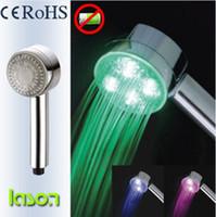 Coloful LED Hand Shower Head Temperature Sensor 3 Color chan...