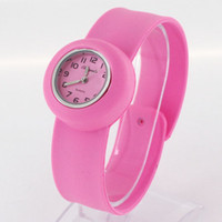 Wholesale 50Pcs Jelly Quartz Silicone Band Slap Watch WristWatch For Kids Children Free DHL Shipping
