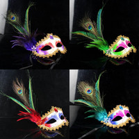 Wholesale Venetian Masquerade Pheasant Peacock Feather Masks Half Face Masks Ball Party
