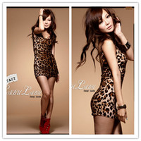 Wholesale Vest dress Sexy dress club barebacked Leopard dress streak dress Two colors