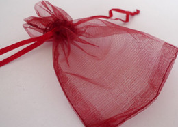 100pcs 9X12cm Dark red jewelry gift pouch wedding organza bags Wedding Favor Party