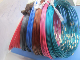 Wholesale Stainless Steel Screw Clasps Wholesale - 18inch 1mm assorted color stainless steel wire collar choker screw clasp necklace cord 110pieces lot