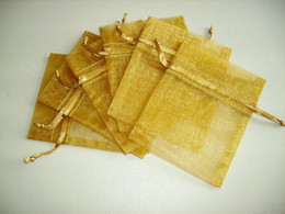 100pcs 9X12cm Gold jewelry gift pouch wedding organza bags Wedding Favor Party