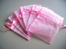 100pcs 9X12cm Pink jewelry gift pouch wedding organza bags Wedding Favor Party