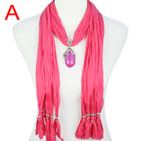 Wholesale Colorful Drop resin pendant scarf necklace New spring autumn jewelry scarves for women colors NL