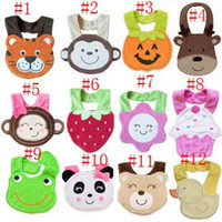 Wholesale baby bib cartoon babies bibs flower monkey duck fish cake frog butterfly infant saliva towel