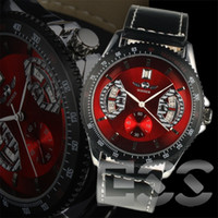 Wholesale Winner Calibre RS Red Leather Bands Stainless Steel Automatic Mens Watch Men s Watches