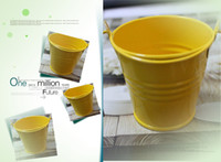 Metal beach pail favors - DHL Beach Theme Nice Yellow color mini pails wedding favors Mini Bucket candy boxes favors party supplies Gifts