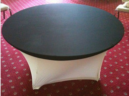 Black Color 6ft 72inch Round Lycra Spandex Table Cloth Cover Topper 5PCS MOQ For Wedding,Party,Hotel Decoration Use