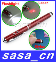 Accessory Bundles Stock  3 in 1 Capacitive Stylus Pen with Laser Pointer Flashlight For Samsung Galaxy S2 i9220 iPhone 4 4S