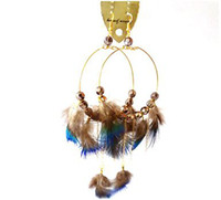 Women's beaded peacock feather earrings - G471 super immortal fashionable circle Peacock Feather Earrings Beaded Feather Earrings