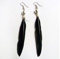 Wholesale G467 fashion bright simple Feather Earrings Beaded Feather Earrings Korean jewelry