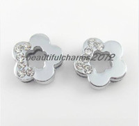 Wholesale mm Half rhinestone Plum flower Slide letters Charm Accessories