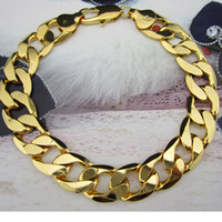 Wholesale new arrival k yellow gold filled men s bracelet Solid curb chains quot mm width hot sale