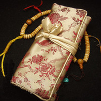 Jewelry Pouches,Bags   Chinese Silk Jewelry Pouches 30pcs pack Mix Color 9*6.3 inch Printed Zipper Drawstring Roll Bags