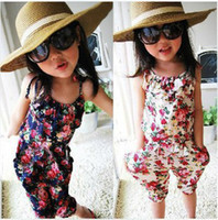 Wholesale Children s pants Kids Girls Pants Floral cotton Siamese Shorts Trousers baby summer outfit girls clothes Kids Clothing Children clothing