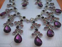 Women's alexandrite gold earrings - womens K yellow gold filled necklace chain charm purple alexandrite dripping gemstone earrings set