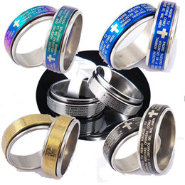 Wholesale MIXED Spanish Bible Lord s Prayer Cross Ring Spinner Stainless Steel Rings Fashion Catholic Christian Religious Jewelry