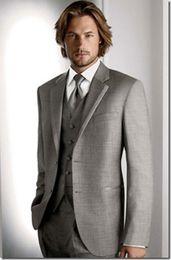 Custom Made Two Buttons Groom Tuxedos Light Grey Best Man Notch Lapel Groomsmen Men Wedding Suits Bridegroom (Jacket+Pants+Vest+Tie) NO:410