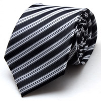 Wholesale Business Use Mens Fashion Silk Jacquard Neck Tie Silver Black Stripe H282