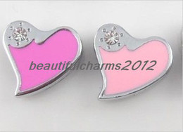 Wholesale 8mm 100pcs rhinestone Heart Slide letters Charm Accessories