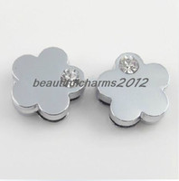 Wholesale mm Rhinestones Plum flower Slide letters Charm Accessories