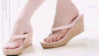 lady leisure shoes - newest lady sexy Comfortable hot summer leisure slope sandals slippers bride wedding shoes in box