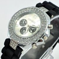 Wholesale 30pcs new arrival silicone bracelet watch diamond crystal around alloy case multicolor watch