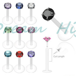 Zircon Labret Stud Lip Ring Fashion Body Piercing Jewelry Mixed Color 16Gauge High Quality