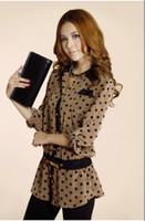Wholesale 2012 new Spring OL women s clothing Temperament the lapel wave retro long sleeved shirt colors