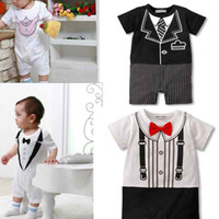 Wholesale Toddler amp Baby Boy s Short Jumpsuit Onepiece Party Suit Bodysuit quot Bow tie Romper quot Boy Tuxedo Rompers