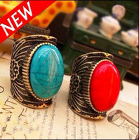 Women's Solitaire Ring  Vintage Ethnic Totem Bohemian Big Cameo Gemstone Wide Ring With Red Blue Black Red Gem Stone Rings