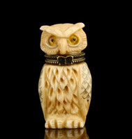 carved ox bone - CHINESE CARVED STATUE OX BONE SNUFF BOTTLE OWL BOX