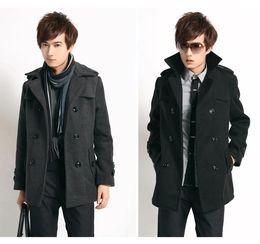 Новые люди Slim Fit пальто вскользь пальто тренчкот серый черный # 3131