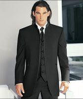 Wholesale Custom Made Black Stand Collar Groom Tuxedos Best Man Suits Wedding Groomsman Men Wedding Suits Bridegroom Jacket Pants Tie Vest A2