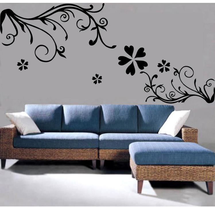 jm7043 vine flower removable wall sticker decal mural. Black Bedroom Furniture Sets. Home Design Ideas