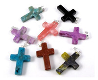 Wholesale Cross natural stone gemstone pendants jewelry accessories Colors mixed