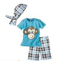 Wholesale Monkey T shirt boy suit baby clothing T shirt pants scarf hat