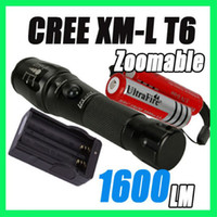 Wholesale 1600 Lumen Zoomable CREE XML XM L T6 Focus LED Flashlight torch light battery charger