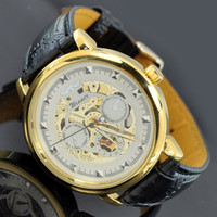Wholesale 1pcs winner pointer Automatic mechanical watch men s bracelet leather luxury watches