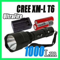 Wholesale Brand New style Ultrafire C8 Lumen CREE XM L T6 LED Flashlight Torch battery Charger
