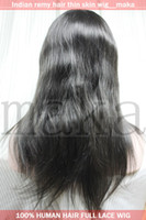Wholesale 16inch brown straight beautiful full lace wig with thin skin human Indian indic remy wigs