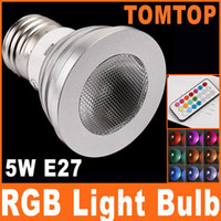 Wholesale 5W E27 Color Change LED RGB Light Bulb two million colors Lighting lamp with Remote Control H8037