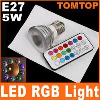 Spotlight led rgb remote bulb 5w - 5W E27 LED RGB Light Bulb V million colors lamp Spotlight with Remote Control H8037