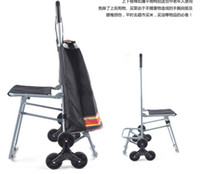 Red Trolley Stripes Portable shopping trolley portable bag stairs-mover