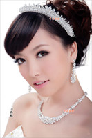 Alloy tiara and jewelry set - Wedding Bridal Jewelry Set MM8010 Crystal Crown Tiaras Necklace And Earring Captivating