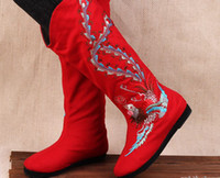 Wholesale Wholesale1pair Embroidery Peony Phoenix Nation High boots CottonMelaleuca shoe US