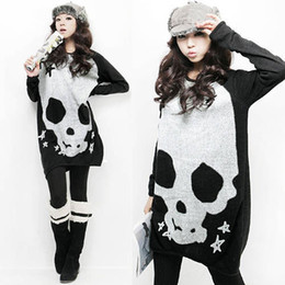 Wholesale Women s Knit Sleeve shirt skull Print Black Orange Color One Size Hot sale