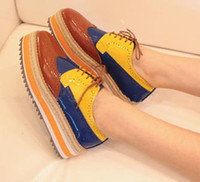Red Lace-Up Women 2012 block colors stripes platform oxford shoes girls fashion casual shoes 5 colors